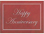 Happy Anniversary in script with white border, red background
