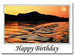 Happy Birthday card with sunset, lake and moutains
